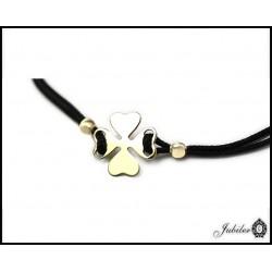 Bransoletka sznurkowa ze złotem - krzyżyk - celebrytka (29627)