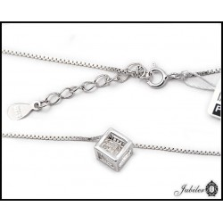 Srebrny naszyjnik - serce z cyrkonią (32367)