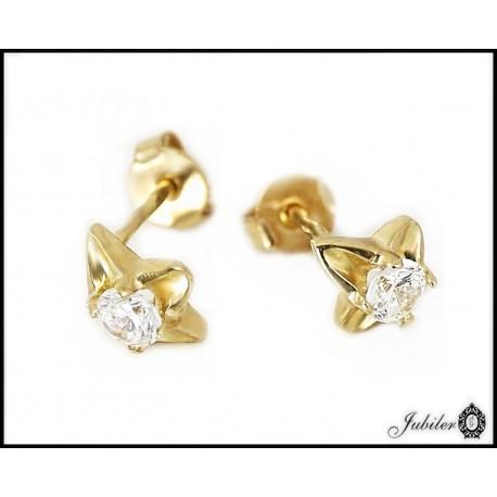 Złote kolczyki zdobione cyrkoniami kwiatki (25217)