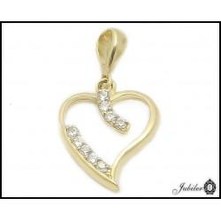 Złota zawieszka - serce zdobione cyrkoniami (31346-31349)