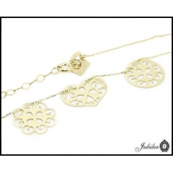 Gold necklace - celebrity - a triple theme: openwork circle, heart and flower