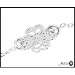 A rope bracelet with a silver openwork heart (26644)