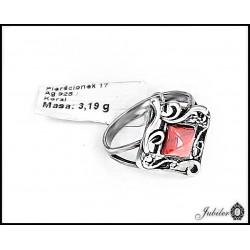 Złoty pierścionek zdobiony cyrkonią i rodowaniem (31387)