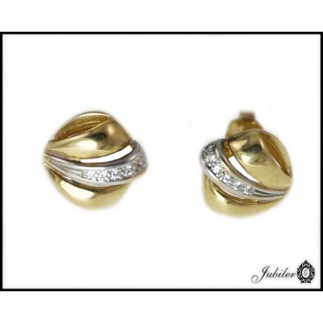Piękne złote kolczyki z cyrkoniami p 333 8385378094