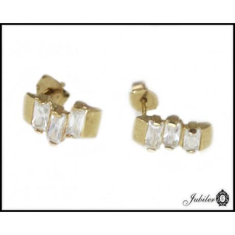 Piękne złote kolczyki z cyrkoniami p 333 8385463089