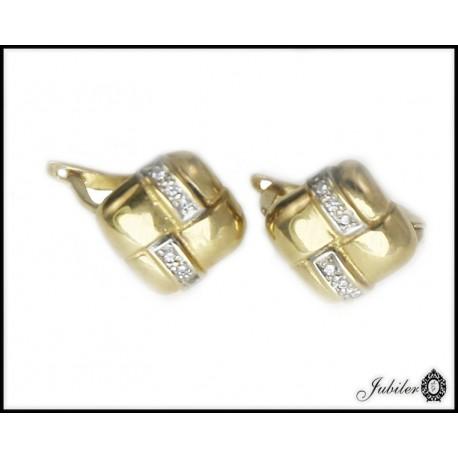 Piękne złote kolczyki z cyrkoniam kwadraty p 333 8385508993