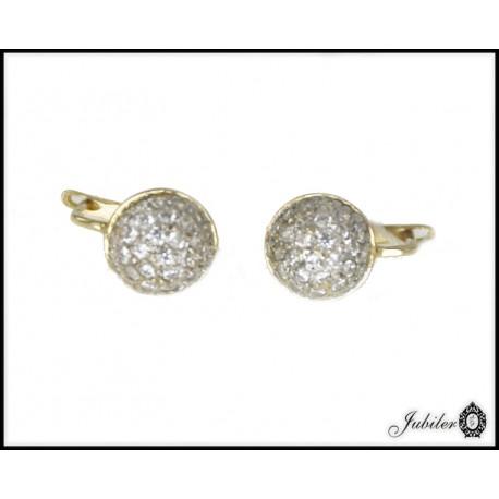 Piękne złote kolczyki z cyrkoniami p 333 8393745955