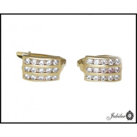 Piękne złote kolczyki z cyrkoniami p 333 8393780914