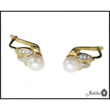 Piękne złote kolczyki z perłą p 333 8393823250