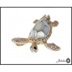 Srebrna zawieszka z masy perłowej żółw 925 8424817668
