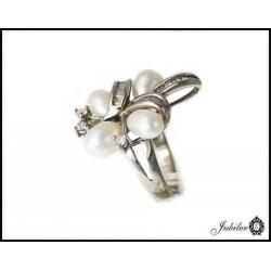 Srebrny pierścionek z perłami 925 8425427716