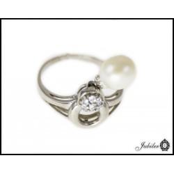 Srebrny pierścionek z ruchomą perłą 925 8425511814