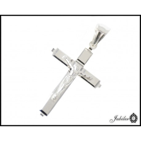 Srebrna zawieszka krzyżyk z Jezusem próba 925 8476049553