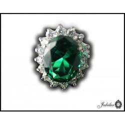 Srebrny pierścień z cyrkonią zielony p. 925 8513337249