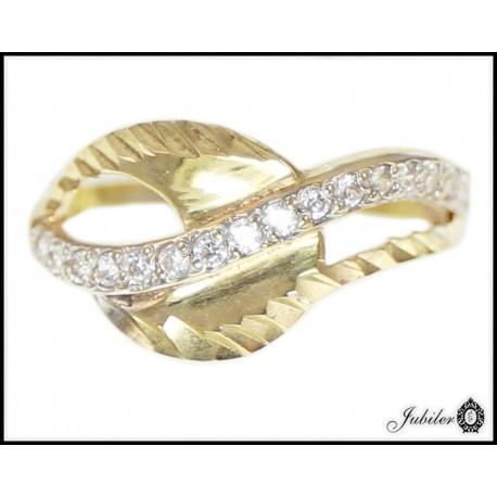 Piękny złoty pierścionek zdobiony cyrkoniami p 333 8547855151