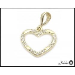 Złota zawieszka - serce zdobione cyrkoniami (31352)