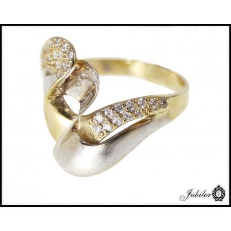 Piękny złoty pierścionek zdobiony cyrkoniami p 333 8563013999