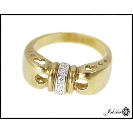 Piękny złoty pierścionek zdobiony cyrkoniami p 333 8563158289