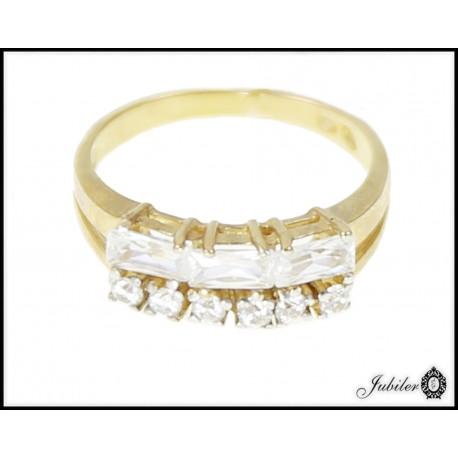 Piękny złoty pierścionek zdobiony cyrkoniami p 333 8563198375