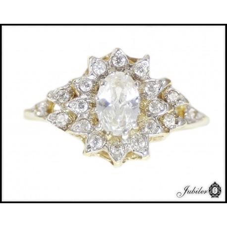 Piękny złoty pierścionek zdobiony cyrkoniami p 333 8563357417