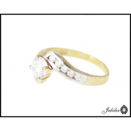 Piękny złoty pierścionek zdobiony cyrkoniami p 333 8706803784