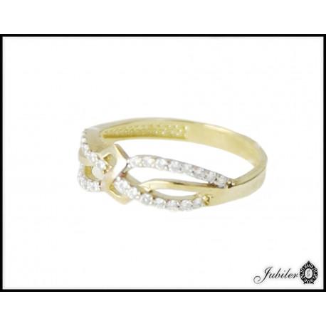 Piękny złoty pierścionek zdobiony cyrkoniami p 333 8707000367