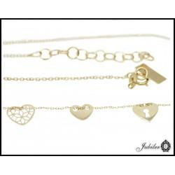 Złoty naszyjnik celebrytka ażurowe serca 46cm 8746416196