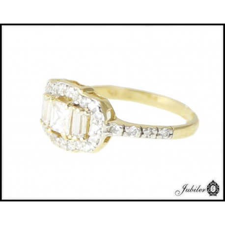 Piękny złoty pierścionek zdobiony cyrkoniami p 333 8749142129