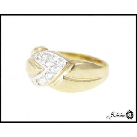 Piękny złoty pierścionek zdobiony cyrkoniami p 333 8749547913
