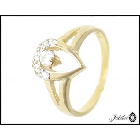 Piękny złoty pierścionek zdobiony cyrkoniami p 333 8749602986
