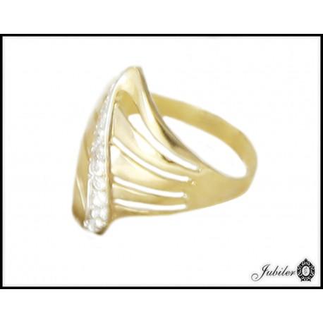 Piękny złoty pierścionek zdobiony cyrkoniami p 333 8749724694