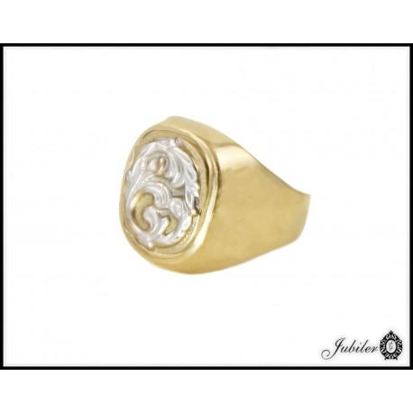 Piękny masywny sygnet zdobiony złotem białym p 333 8750007475