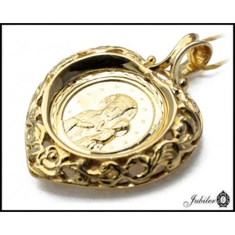 Złoty 585 medalik ażurowe serce Matka Boska z Dzieciątkiem