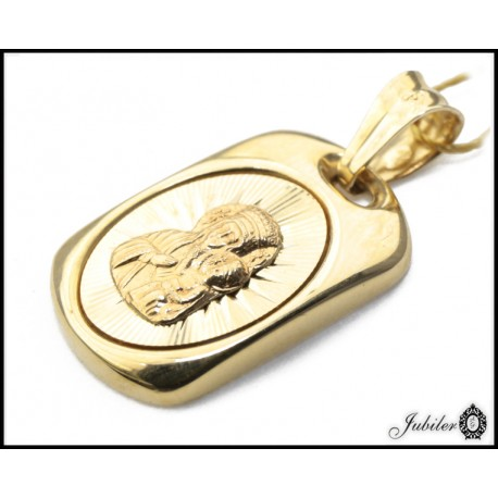 Złoty 585 prostokątny Matka Boska z Dzieciątkiem