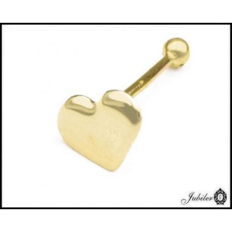 Złoty (585) kolczyk do nosa w kształcie serca 6mm