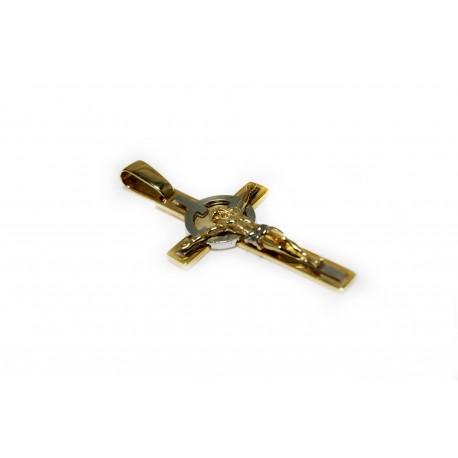 Duży solidny złoty krzyż próby 585