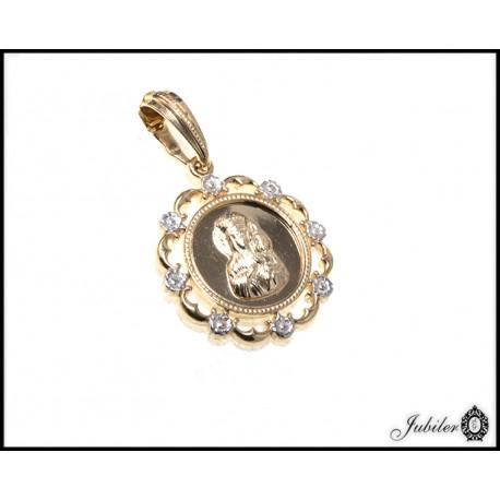Złoty 585 ażurowy medalik Matka Boska z Dzieciątkiem