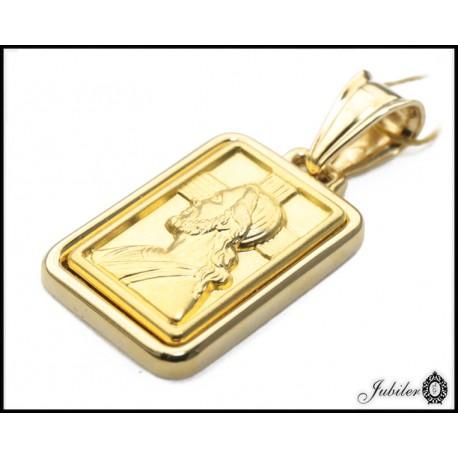 Złoty 585 wypukły prostokątny medalik z Jezusem