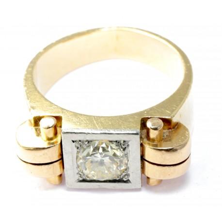 Złoty sygnet pierścień z brylantem projekt p. 585