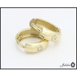 Złote kolczyki - koła z cyrkoniami (26373)