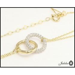 Złoty naszyjnik splecione pierścienie zdobione cyrkoniami (26465)