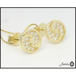 Złote kolczyki kółeczka z cyrkoniami (26611)