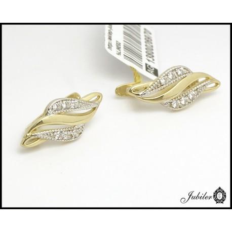 Złote kolczyki zdobione cyrkoniami i rodowaniem (26970)