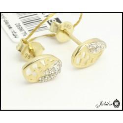 Złote kolczyki zdobione cyrkoniami (27188)