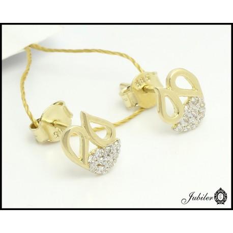 Złote kolczyki - łezki - zdobione cyrkoniami (27192)