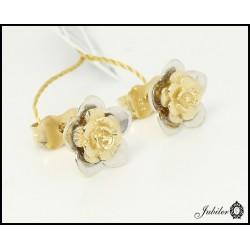 Złote kolczyki - kwiatki zdobione rodowaniem (27186)