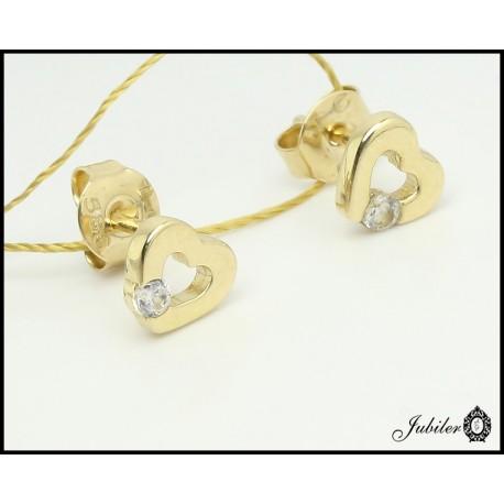Złote kolczyki - serca zdobione cyrkonią (27184)