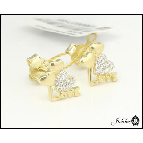 Złote kolczyk - LOVE z cyrkoniami (27185)