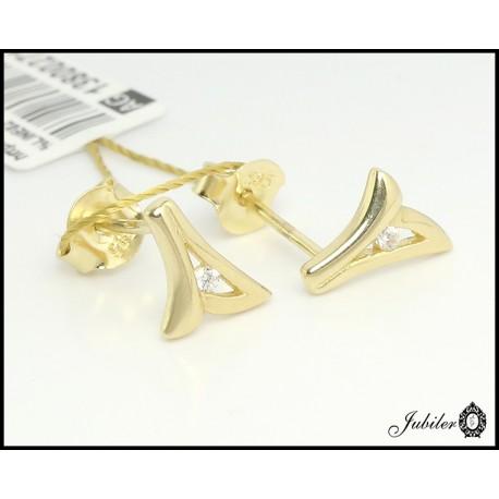 Złote kolczyki zdobione cyrkonią (27193)