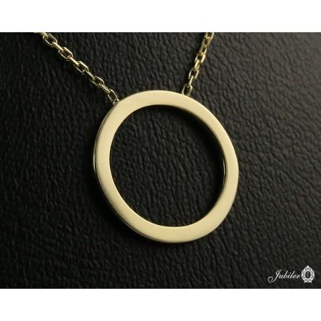 Złoty naszyjnik - celebrytka - pierścień, ring (27154)